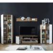 Nappali fal/szekrénysor, fehér magasfényű HG/artisan tölgy, REVEL 1