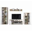 Nappali fal/szekrénysor, fehér magasfényű HG/artisan tölgy, REVEL 3