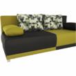 kinyitható kanapé,  szürke/zöld/minta párnák,  SPIKER 3