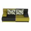 kinyitható kanapé,  szürke/zöld/minta párnák,  SPIKER 5