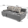 Kinyitható kanapé rakodótérrel, szürke/minta, ELIZE 2