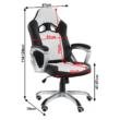 Irodai szék, textilbőr fekete/fehér, LOTAR 1