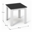 Étkezőasztal, fehér/fekete, 80x80, KRAZ 1
