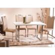 Étkezőasztal, fehér HG + króm, TALOS 3