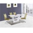 Étkezőasztal, nyitható, fehér extra magasfényű/acél, PERAK 1