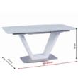 Étkezőasztal, nyitható, fehér extra magasfényű/acél, PERAK 2