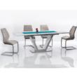 Étkezőasztal, nyitható, fehér extra magasfényű/acél, PERAK 3