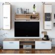 Nappali szekrénysor, tölgyfa wotan/fehér, WAW NEW 1