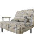 Kinyitható fotel párnával, káró, SARAN 5