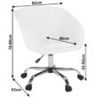 Irodai szék, fehér ekobőr/fém, LENER 1