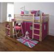 Ágy PC asztallal, fenyő fa/rózsaszín, 90x200, ALZENA 1