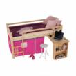Ágy PC asztallal, fenyő fa/rózsaszín, 90x200, ALZENA 2
