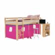 Ágy PC asztallal, fenyő fa/rózsaszín, 90x200, ALZENA 3