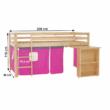 Ágy PC asztallal, fenyő fa/rózsaszín, 90x200, ALZENA 4
