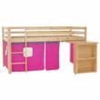 Ágy PC asztallal, fenyő fa/rózsaszín, 90x200, ALZENA 5