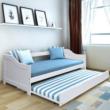 Ágy mellékággyal, tűnyalábos fenyőfa/fehér, 90x200, INTRO 2