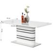 Nyitható étkezőasztal, fehér magasfényű HG/fekete csíkok, TUBAL 1