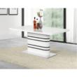 Nyitható étkezőasztal, fehér magasfényű HG/fekete csíkok, TUBAL 4