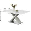 Étkezőasztal, fehér magasfényű HG/beton, FARNEL 1