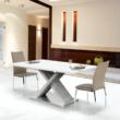 Étkezőasztal, fehér magasfényű HG/beton, FARNEL 2