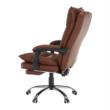 Irodai szék lábtartóval, textilbőr barna, DRAKE 2