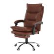 Irodai szék lábtartóval, textilbőr barna, DRAKE 3