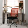 Irodai szék, hálószövet narancs/szövet fekete, APOLO 1