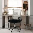 Irodai szék, hálószövet szürke barna/szövet fekete, APOLO 1