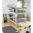 Emeletes, kinyitható ágy ágy, fehér/barna, ROWAN NEW 2