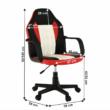 Irodai fotel, fekete/piros/bézs, MALIK NEW 1