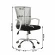 Irodai szék, szürke/fekete/fehér/króm, IZOLDA 1