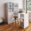 Sarok PC asztal könyvespolccal, fehér, MINESON 2