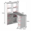 PC asztal könyvespolccal, fehér/beton, MINESON 1