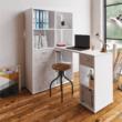 PC asztal könyvespolccal, fehér/beton, MINESON 2