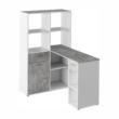 PC asztal könyvespolccal, fehér/beton, MINESON 3