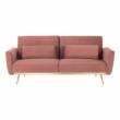 Széthúzhatós kanapé, rózsaszín Velvet anyag/gold króm-arany, HORSTA 5