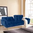 Széthúzhatós kanapé, királykék/tölgy, FILEMA 2