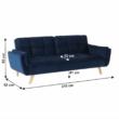Széthúzhatós kanapé, királykék/tölgy, FILEMA 3
