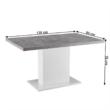 Étkezőasztal, beton/fehér extra magas fényű HG, 138, KAZMA 2