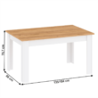 Étkezőasztal, fehér alba/tölgy craft arany, LANZETTE S 2