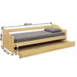 Ágykeret kihúzható pótággyal, fenyő tömörfa, 90x200, LAURA 1