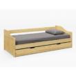 Ágykeret kihúzható pótággyal, fenyő tömörfa, 90x200, LAURA 2
