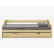 Ágykeret kihúzható pótággyal, fenyő tömörfa, 90x200, LAURA 5