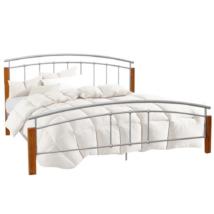 Dupla ágy, égerfa/ezüst fém, 180x200, MIRELA