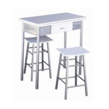 Reggeli bár készlet, asztal + 2 szék, fehér / ezüst, HOMER