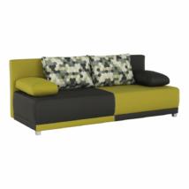 kinyitható kanapé,  szürke/zöld/minta párnák,  SPIKER