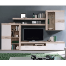 Nappali bútor, homokos tölgy/fehér, VALERIA