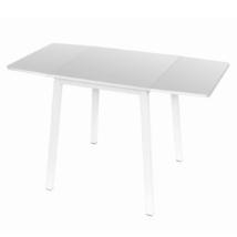 Étkezőasztal, MDF fóliázott/fém, fehér, MAURO