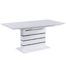 Meghosszabbítható étkezőasztal, fehér extra magasfényű HG,  MEDAN