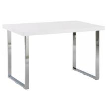 Étkezőasztal, fehér HG + króm, TALOS